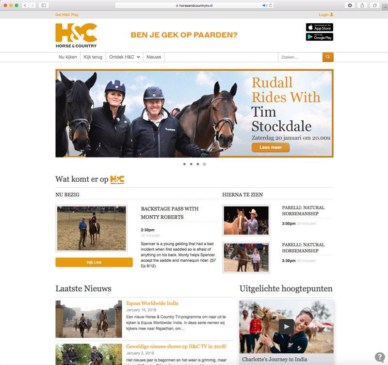 De website van Horse & Country TV.